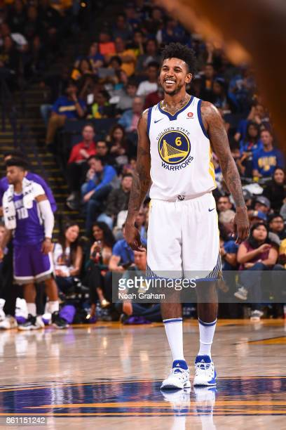 Nick Young of the Golden State Warriors reacts during preseason game against the Sacramento Kings on October 13 2017 at ORACLE Arena in Oakland...