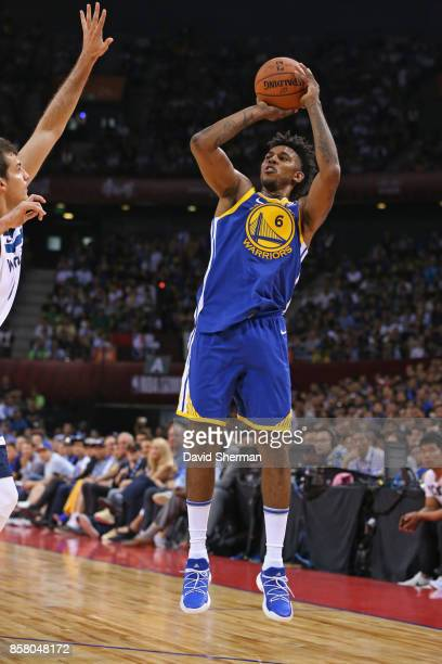 Nick Young of the Golden State Warriors shoots the ball against the Minnesota Timberwolves as part of 2017 NBA Global Games China on October 5 2017...