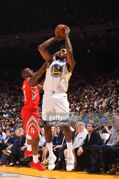 Nick Young of the Golden State Warriors shoots the ball against the Houston Rockets on October 17 2017 at ORACLE Arena in Oakland California NOTE TO...