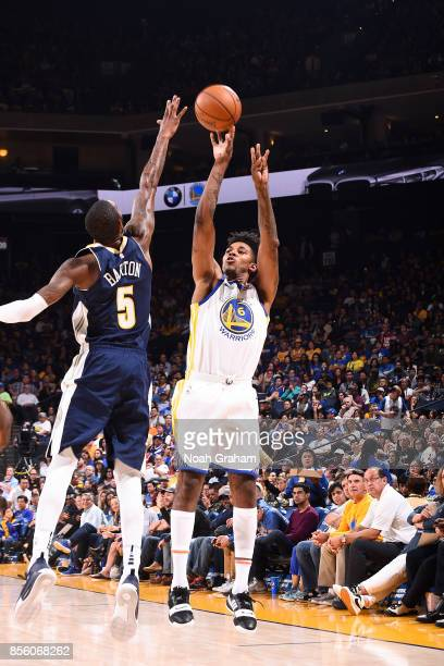 Nick Young of the Golden State Warriors shoots the ball during the game against the Denver Nuggets during a preseason game on September 30 2017 at...