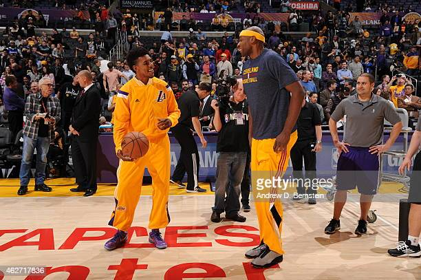 Nick Young of the Los Angeles Lakers and Brendan Haywood of the Cleveland Cavaliers speak before a game at STAPLES Center on January 15 2015 in Los...