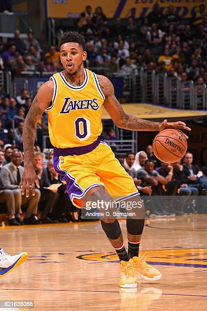 Nick Young of the Los Angeles Lakers dribbles the ball against the Golden State Warriors on November 4 2016 at STAPLES Center in Los Angeles...