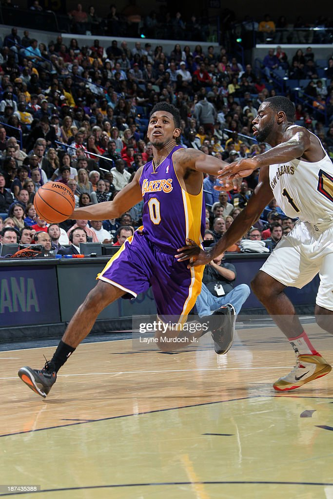 Nick Young #0 of the Los Angeles Lakers drives to the basket against the New Orleans Pelicans on November 8, 2013 at the New Orleans Arena in New Orleans, Louisiana.