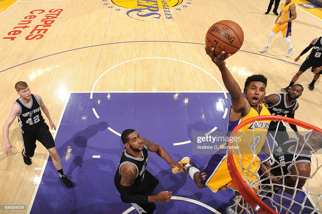 Nick Young #0 of the Los Angeles Lakers goes up for a lay up against the San Antonio Spurs on November 18, 2016 at STAPLES Center in Los Angeles, California.