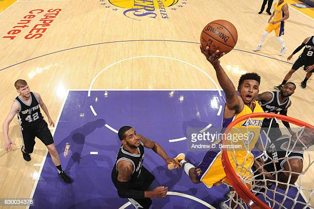 Nick Young of the Los Angeles Lakers goes up for a lay up against the San Antonio Spurs on November 18 2016 at STAPLES Center in Los Angeles...