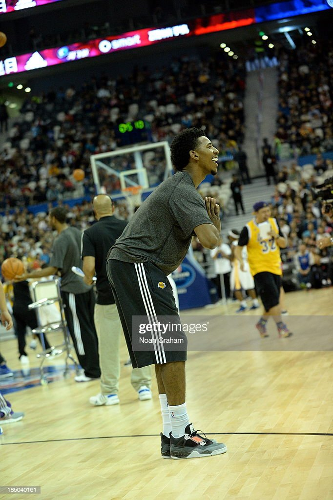 Nick Young of the Los Angeles Lakers looks on during Fan Appreciation Day as part of the 2013 Global Games on October 17, 2013 at the Oriental Sports Center in Shanghai, China.
