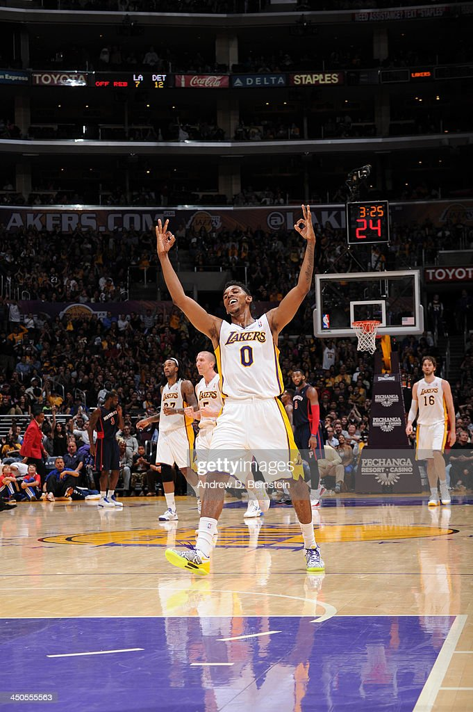 Nick Young #0 of the Los Angeles Lakers reacts after making a shot against the Detroit Pistons at Staples Center on November 17, 2013 in Los Angeles, California.