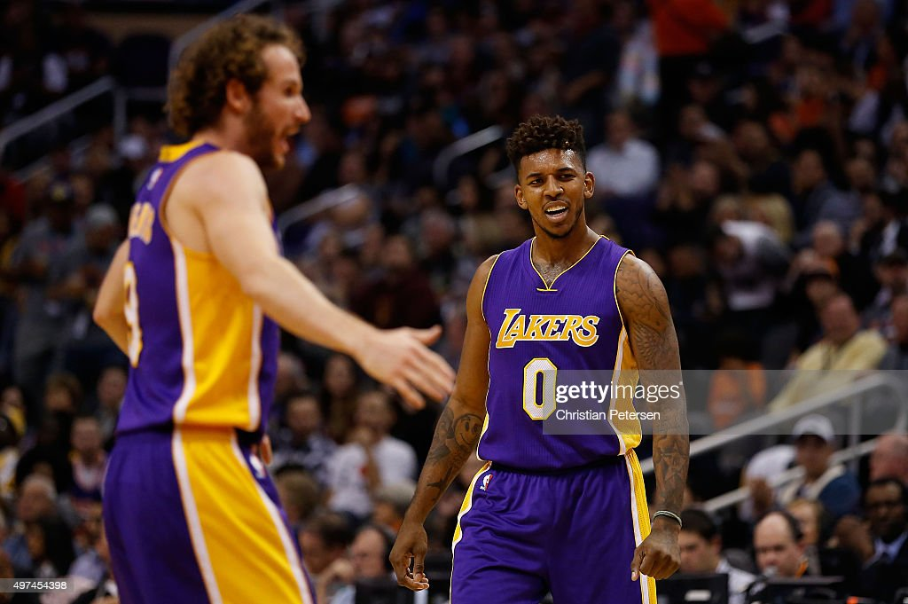 <a gi-track='captionPersonalityLinkClicked' href=/galleries/search?phrase=Nick+Young+-+Basketball+Player&family=editorial&specificpeople=4378101 ng-click='$event.stopPropagation()'>Nick Young</a> #0 of the Los Angeles Lakers reacts after Marcelo Huertas #9 scored against the Phoenix Suns during the first half of the NBA game at Talking Stick Resort Arena on November 16, 2015 in Phoenix, Arizona.
