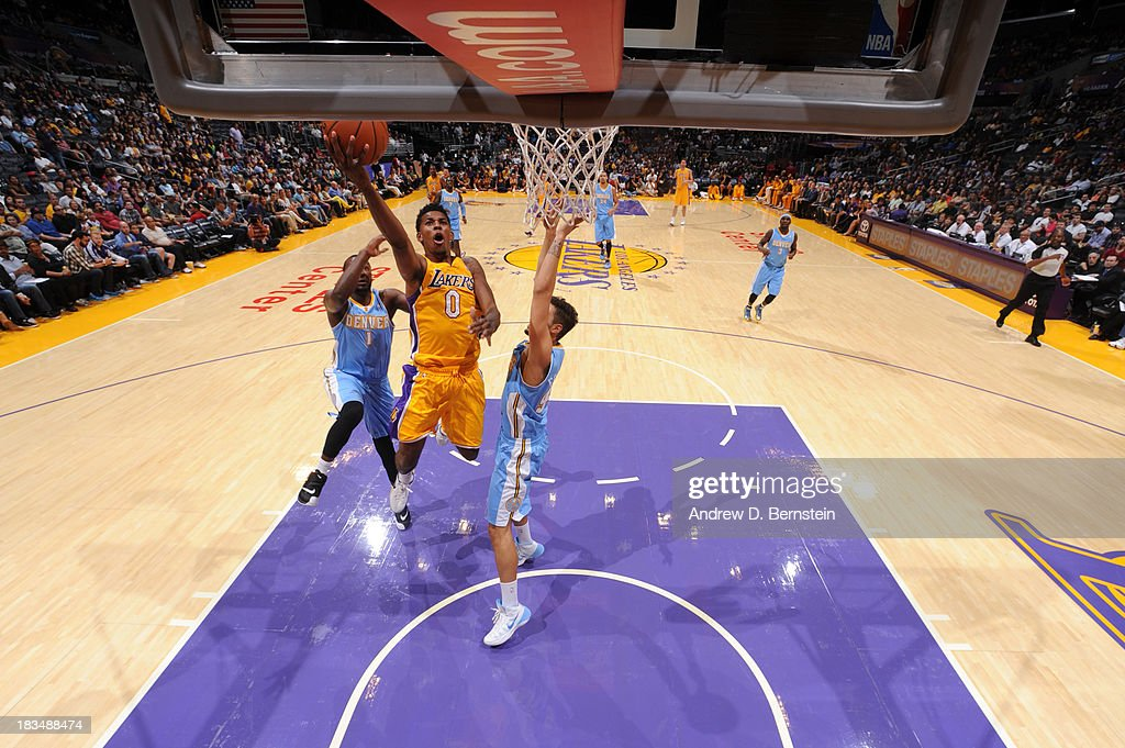 Nick Young #0 of the Los Angeles Lakers shoots during a game against the Denver Nuggets at STAPLES Center on October 10, 2013 at in Los Angeles, California.