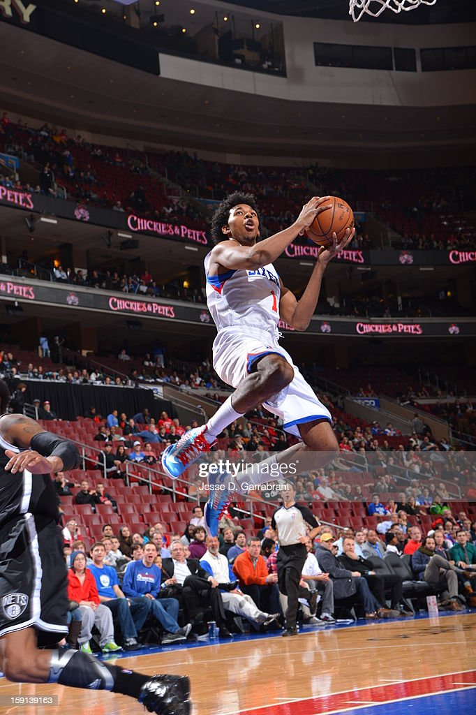 Nick Young #1 of the Philadelphia 76ers attempts a jump shot during the game at the Wells Fargo Center on January 8, 2013 in Philadelphia, Pennsylvania.