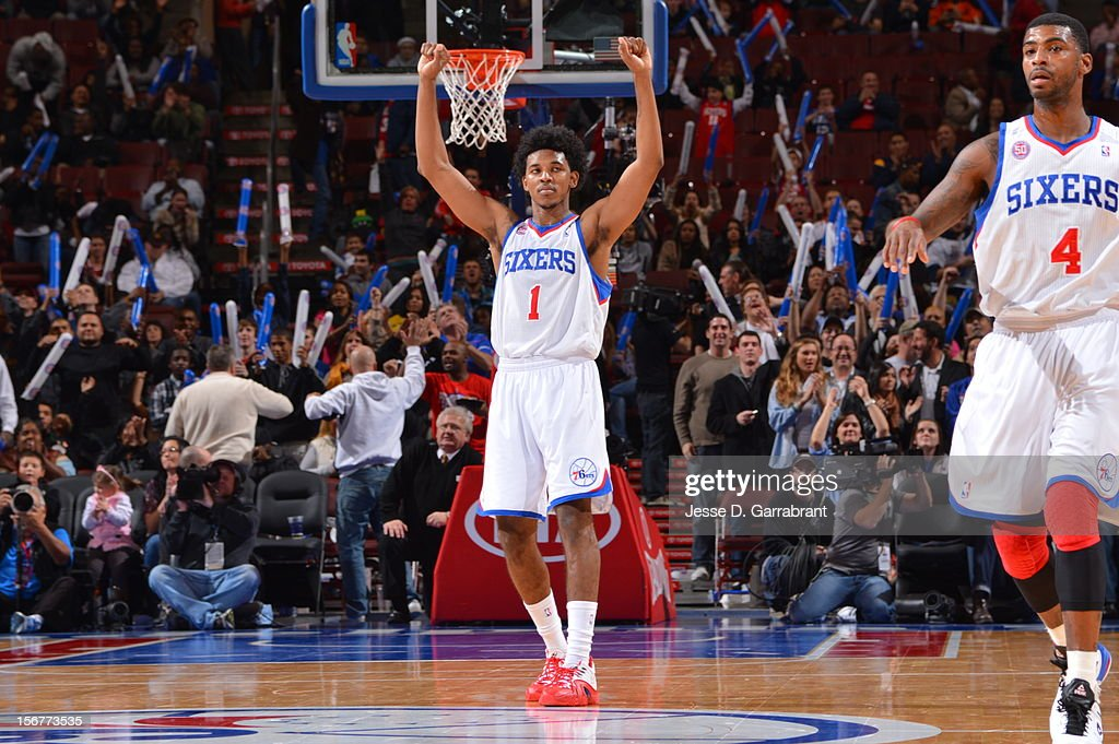 Nick Young #1 of the Philadelphia 76ers celebrates during the game against the Toronto Raptors at the Wells Fargo Center on November 20, 2012 in Philadelphia, Pennsylvania.