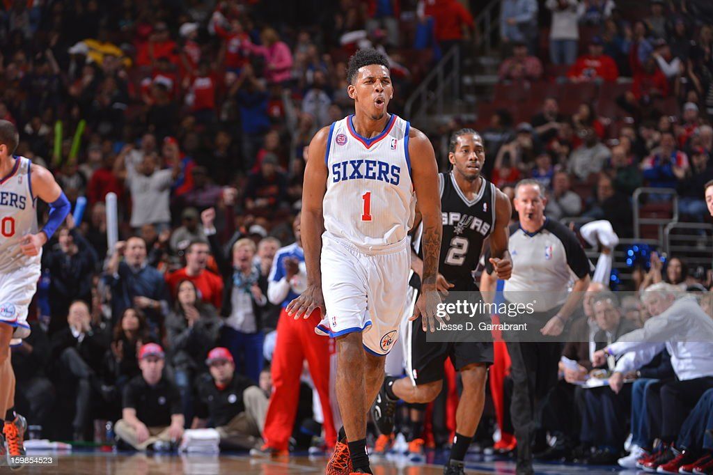 Nick Young #1 of the Philadelphia 76ers celebrates during the game against the San Antonio Spurs at the Wells Fargo Center on January 21, 2013 in Philadelphia, Pennsylvania.
