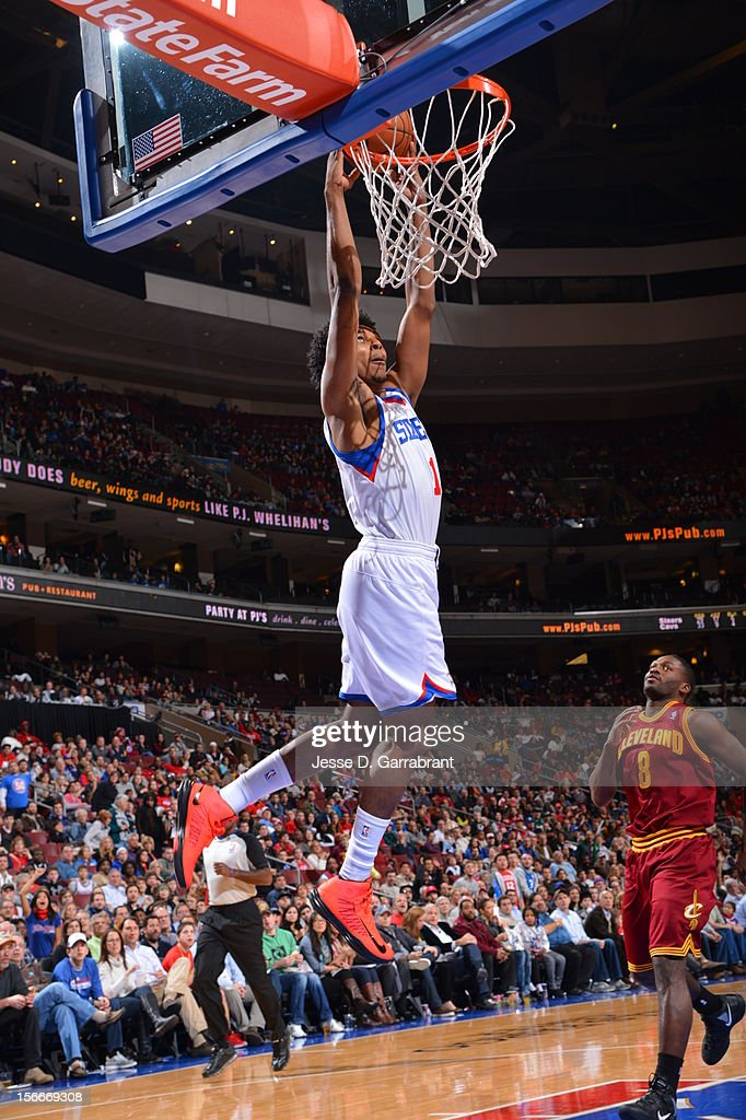 Nick Young #1 of the Philadelphia 76ers drives to the basket against the Cleveland Cavaliers at the Wells Fargo Center on November 18, 2012 in Philadelphia, Pennsylvania.