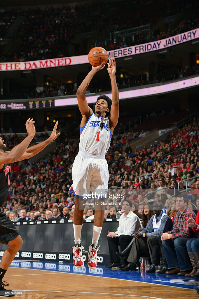 Nick Young #1 of the Philadelphia 76ers drives to the basket against the Toronto Raptors during the game at the Wells Fargo Center on January 18, 2013 in Philadelphia, Pennsylvania.