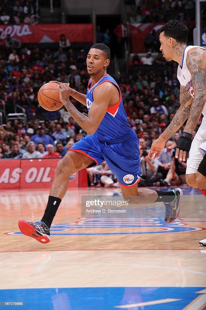 Nick Young #1 of the Philadelphia 76ers drives to the basket against the Los Angeles Clippers at Staples Center on March 20, 2013 in Los Angeles, California.