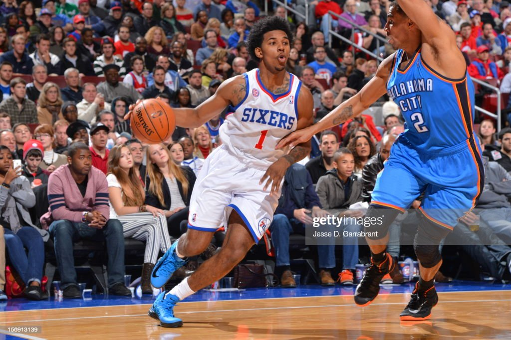 Nick Young #1 of the Philadelphia 76ers drives to the hoop vs the Oklahoma City at the Wells Fargo Center on November 24, 2012 in Philadelphia, Pennsylvania.
