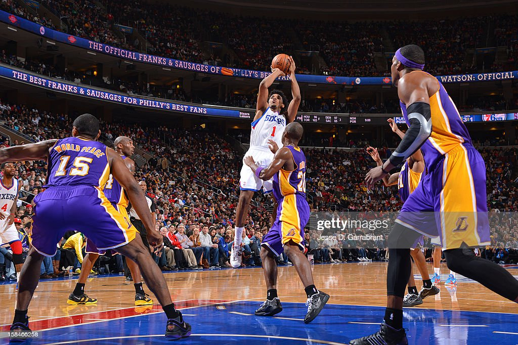 Nick Young #1 of the Philadelphia 76ers shoots a jump shot against the Los Angeles Lakers on December 16, 2012 at the Wells Fargo Center in Philadelphia, Pennsylvania.