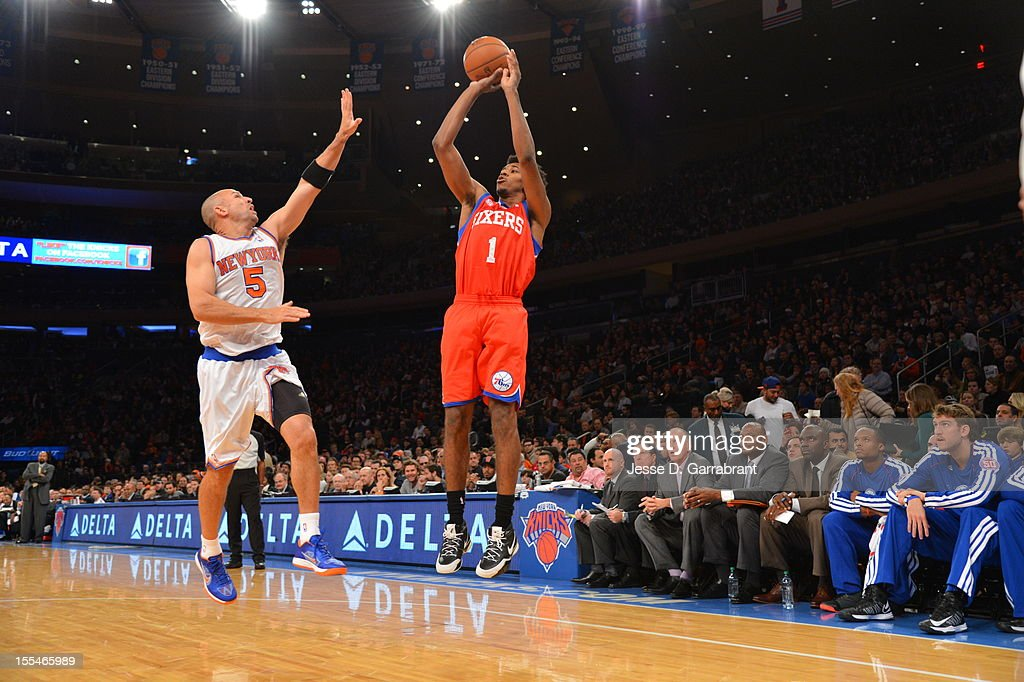 Nick Young #1 of the Philadelphia 76ers shoots against Jason Kidd #5 of the New York Knicks on November 4, 2012 at Madison Square Garden in New York City.