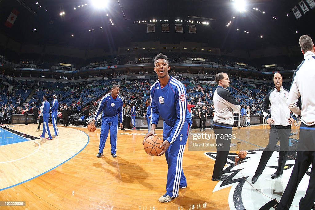 Nick Young #1 of the Philadelphia 76ers smiles before the game between Philadelphia 76ers and the Minnesota Timberwolves on February 20, 2013 at Target Center in Minneapolis, Minnesota.