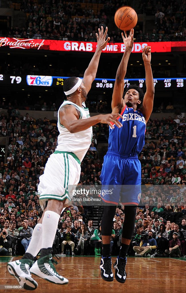 Nick Young #1 of the Philadelphia 76ers takes a jump shot vs the Boston Celtics on November 9, 2012 at the TD Garden in Boston, Massachusetts.