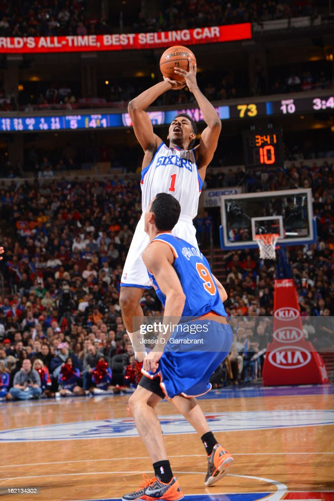 Nick Young #1 of the Philadelphia 76ers takes a shot against the New York Knicks at the Wells Fargo Center on January 26, 2013 in Philadelphia, Pennsylvania.