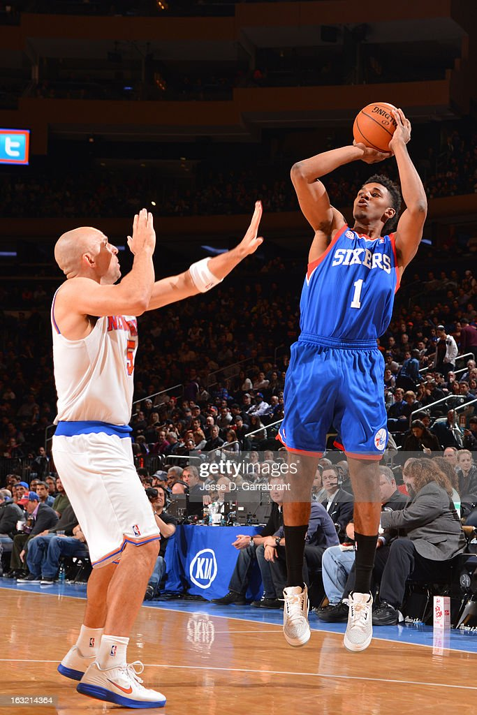 Nick Young #1 of the Philadelphia 76ers takes a shot against the New York Knicks on February 24, 2013 at Madison Square Garden in New York City, New York.
