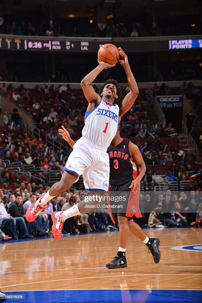 Nick Young #1 of the Philadelphia 76ers takes a shot against the Toronto Raptors at the Wells Fargo Center on November 20, 2012 in Philadelphia, Pennsylvania.