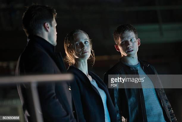 Nick Zano Laura Regan and Stark Sands in the allnew Everybody Runs season finale episode of MINORITY REPORT airing Monday Nov 30 on FOX