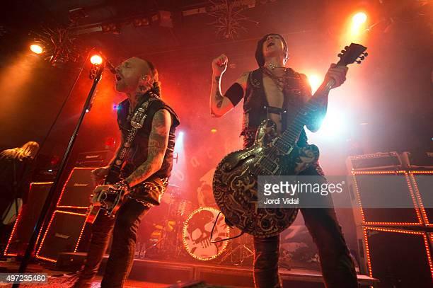 Nicke Borg and Dregen of Backyard Babies perform on stage at Bikini on November 14 2015 in Barcelona Spain