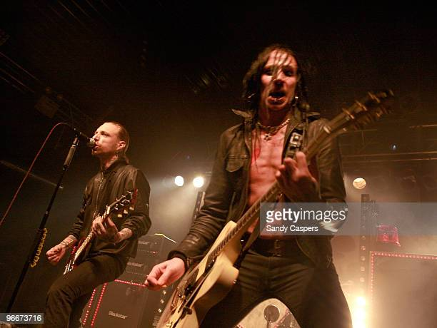 Nicke Borg and Dregen of Backyard Babies perform on stage at Backstage on February 13 2010 in Munich Germany