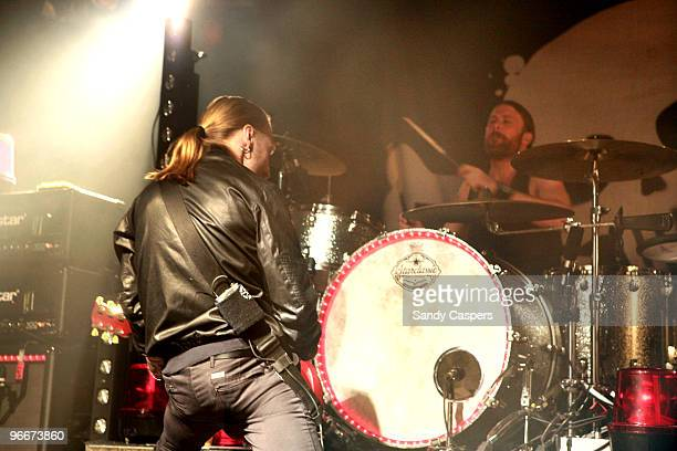 Nicke Borg and Peder Carlsson of Backyard Babies perform on stage at Backstage on February 13 2010 in Munich Germany