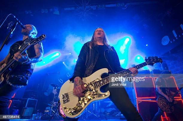 Nicke Borg John Blomquist and Dregen of Backyard Babies perform on stage at Bikini on November 14 2015 in Barcelona Spain
