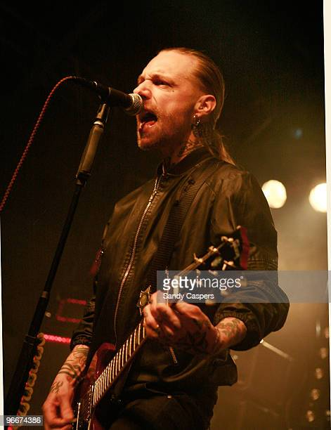 Nicke Borg of Backyard Babies perform on stage at Backstage on February 13 2010 in Munich Germany