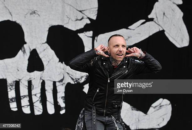 Nicke Borg of Backyard Babies performs live on stage during Day 3 of the Download Festival at Donington Park on June 14 2015 in Castle Donington...