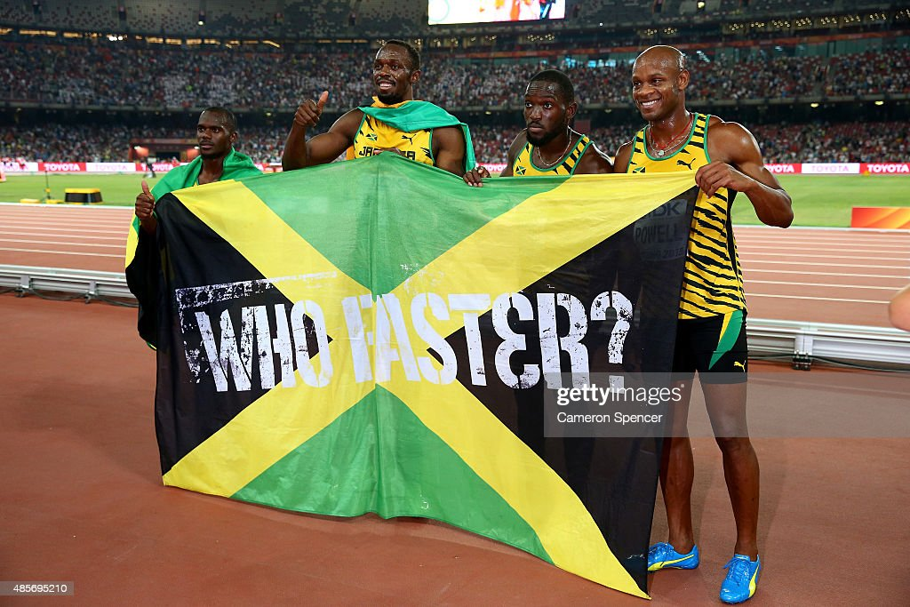 Nickel Ashmeade of Jamaica, Asafa Powell of Jamaica, Usain Bolt of Jamaica of Jamaica and Nesta Carter of Jamaica celebrate after winning gold in the Men's 4x100 Metres Relay final during day eight of the 15th IAAF World Athletics Championships Beijing 2015 at Beijing National Stadium on August 29, 2015 in Beijing, China.