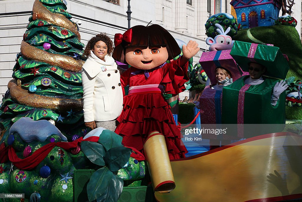 Nickelodeon star and Columbia recording artist <a gi-track='captionPersonalityLinkClicked' href=/galleries/search?phrase=Rachel+Crow&family=editorial&specificpeople=8299655 ng-click='$event.stopPropagation()'>Rachel Crow</a> (L) and Dora the Explorer attend the 86th Annual Macy's Thanksgiving Day Parade on November 22, 2012 in New York City.