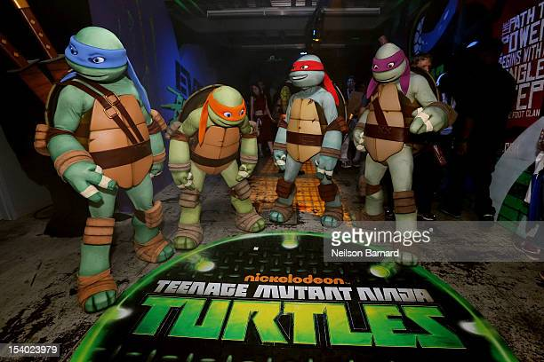 Nickelodeon's Teenage Mutant Ninja Turtles emerge at NY Comic Con 2012 at the Jacob Javitz Center on October 12 2012 in New York City