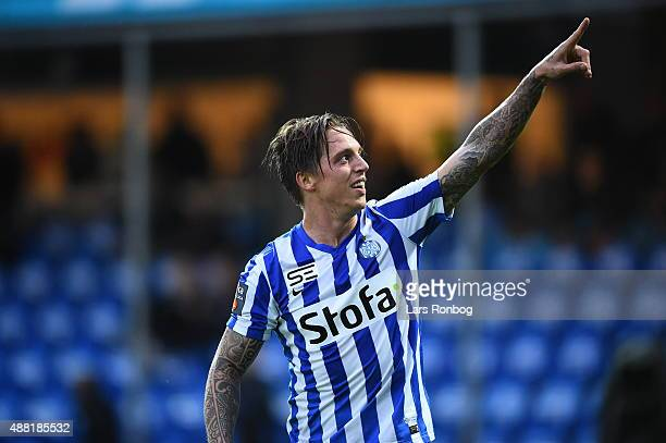 Nicki Bille Nielsen of Esbjerg fB celebrates after scoring their second goal during the Danish Alka Superliga match between Esbjerg fB and OB Odense...