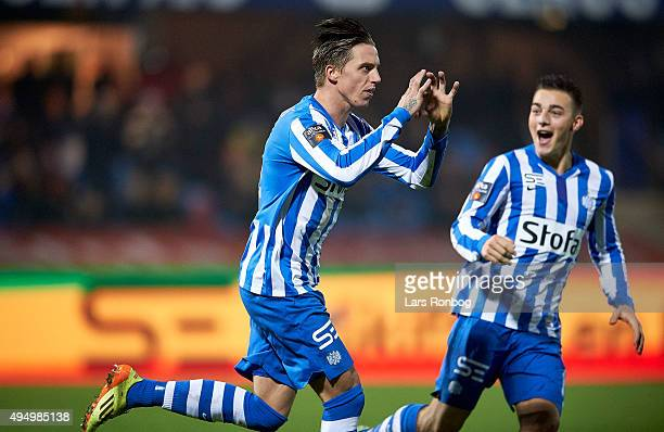 Nicki Bille Nielsen of Esbjerg fB celebrates with Casper Nielsen after scoring their first goal during the Danish Alka Superliga match between...