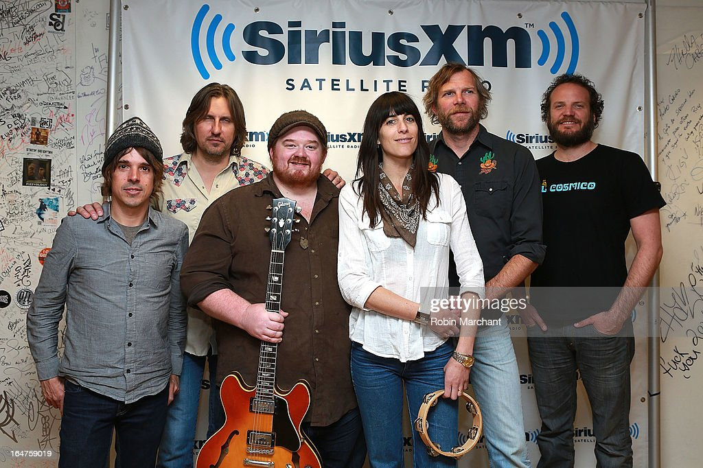 Nicki Bluhm (C) with Tim Bluhm, Deren Ney, Dave Mulligan, Steve Adams and Mike Curry of Nicki Bluhm & the Gramblers visits at SiriusXM Studios on March 27, 2013 in New York City.