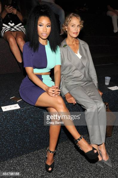 Nicki Minaj and Lauren Hutton attend the Alexander Wang fashion show during MercedesBenz Fashion Week Spring 2015 at Pier 94 on September 6 2014 in...
