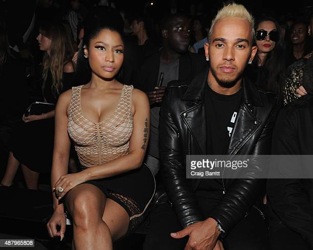 Nicki Minaj and Lewis Hamilton attend the Alexander Wang Spring 2016 fashion show during New York Fashion Week at Pier 94 on September 12 2015 in New...
