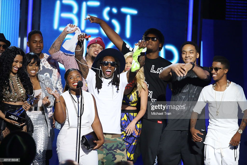 Nicki Minaj and Lil Wayne of Young Money speak onstage during the 'BET AWARDS' 14 held at Nokia Theater LA LIVE on June 29 2014 in Los Angeles...