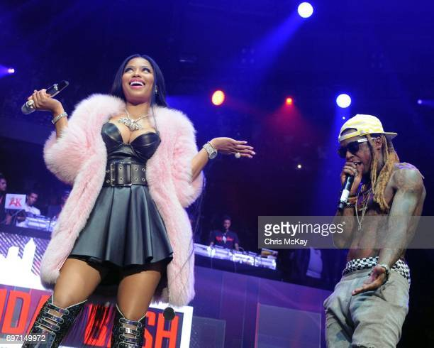Nicki Minaj and Lil Wayne perform during surprise appearances duing the Hot 1079 Birthday Bash at Philips Arena on June 17 2017 in Atlanta Georgia