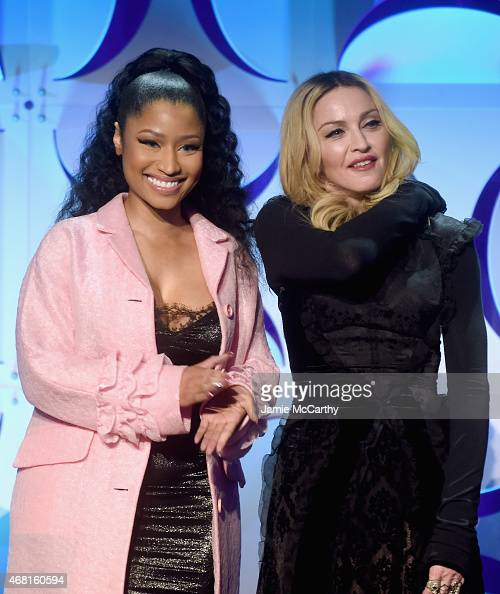 Nicki Minaj and Madonna onstage at the Tidal launch event #TIDALforALL at Skylight at Moynihan Station on March 30 2015 in New York City