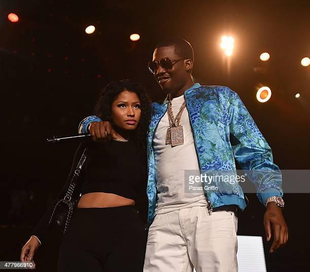 Nicki Minaj and Meek Mill onstage at Hot 1079 Birthday Bash Block Show at Phillips Arena on June 20 2015 in Atlanta Georgia