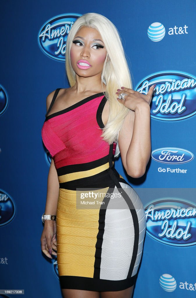 <a gi-track='captionPersonalityLinkClicked' href=/galleries/search?phrase=Nicki+Minaj+-+Performer&family=editorial&specificpeople=6362705 ng-click='$event.stopPropagation()'>Nicki Minaj</a> arrives at American Idol Season 12 premiere event held at Royce Hall UCLA on January 9, 2013 in Westwood, California.
