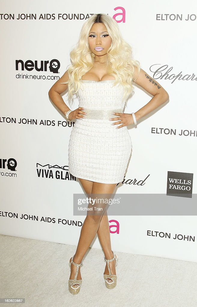 Nicki Minaj arrives at the 21st Annual Elton John AIDS Foundation Academy Awards viewing party held at West Hollywood Park on February 24, 2013 in West Hollywood, California.