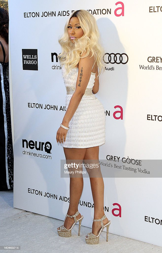 Nicki Minaj arrives at the 21st Annual Elton John AIDS Foundation Academy Awards Viewing Party at Pacific Design Center on February 24, 2013 in West Hollywood, California.