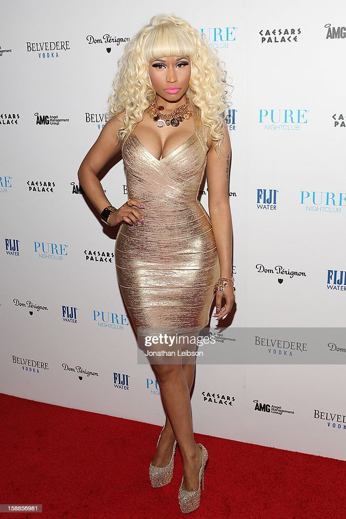 <a gi-track='captionPersonalityLinkClicked' href=/galleries/search?phrase=Nicki+Minaj+-+Performer&family=editorial&specificpeople=6362705 ng-click='$event.stopPropagation()'>Nicki Minaj</a> arrives to New Year's Eve At PURE Nightclub on December 31, 2012 in Las Vegas, Nevada.